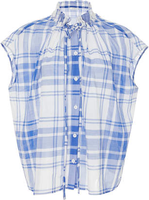 Araks Tirell Plaid Button-Up Cotton Top