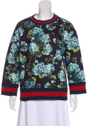 Gucci Web-Trimmed Floral Print Sweater w/ Tags Navy Web-Trimmed Floral Print Sweater w/ Tags
