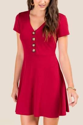 francesca's Hillary Button Front Knit Dress - Brick