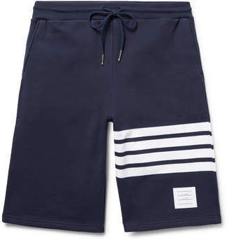 Thom Browne Striped Loopback Cotton-Jersey Shorts $550 thestylecure.com