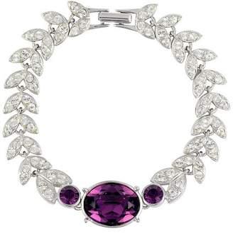 Belle Epoque Cristalina Rhodium Plated Amethyst Garland Bracelet with Swarovski Crystals 19.5cm Long