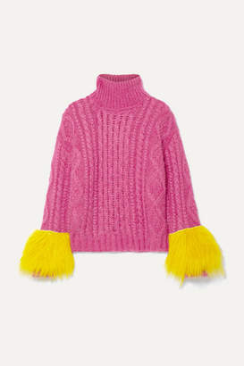 Prada Shearling-trimmed Cable-knit Mohair-blend Sweater - Fuchsia