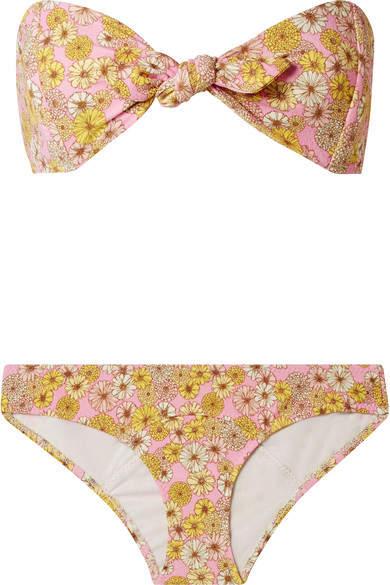 Poppy Floral-print Stretch-crepe Bikini - Pink