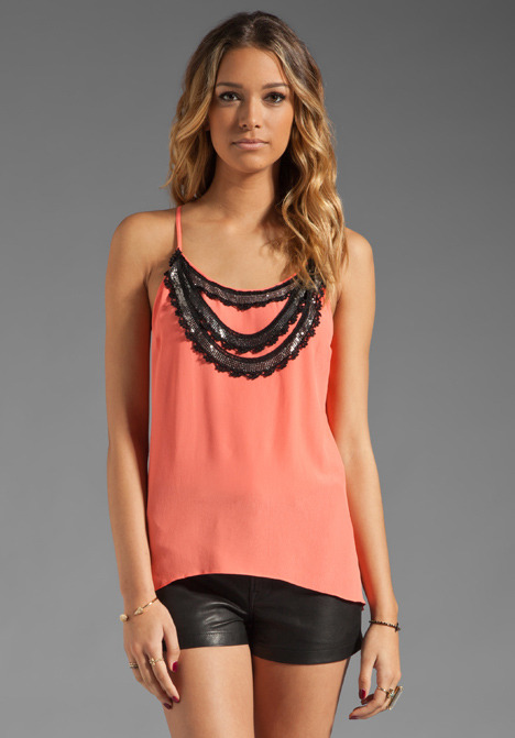 Plenty by Tracy Reese Embellished Crepe Flyaway Tank