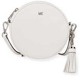 MICHAEL Michael Kors Canteen Medium Round Leather Crossbody Bag - Silvertone Hardware