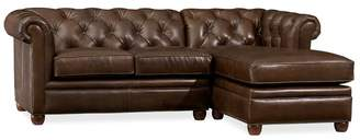 ... Pottery Barn Chesterfield Leather Sofa With Chaise Sectional
