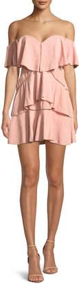 Neiman Marcus La Maison Talulah Penelope Off-the-Shoulder Tiered Ruffle Mini Dress