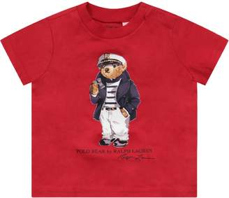 Ralph Lauren Red Babyboy T-shirt With Iconic Bear