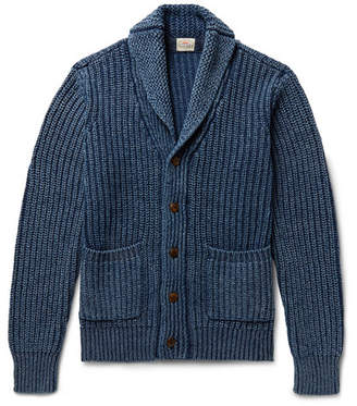 Faherty Indigo-Dyed Shawl-Collar Ribbed Cotton Cardigan