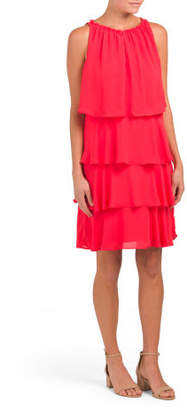 Tiered Ruffle Keyhole Dress