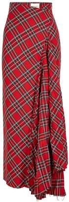 A.W.A.K.E. Mode Sahmain Tartan Twill Maxi Skirt