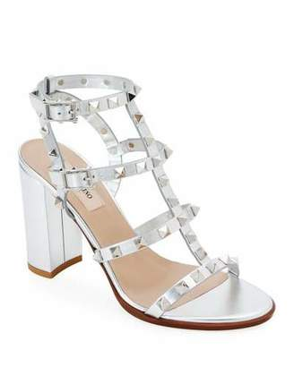 Valentino Garavani Rockstud Strappy Metallic Leather Block-Heel Sandals