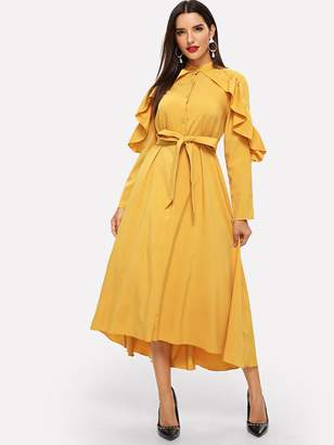 Shein Ruffle Trim Dip Hem Belted Hijab Dress
