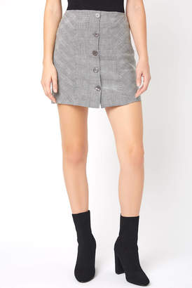 Olivaceous Plaid Button Front Mini Skirt