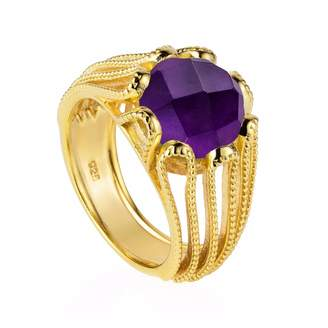 Neola - Alessia Gold Cocktail Ring With Purple Amethyst