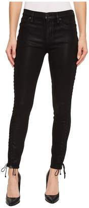 Hudson Stevie Mid-Rise Continuous Lace-Up Super Skinny in Black Coated Women's Jeans
