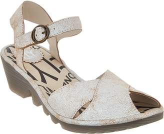 Fly London Leather Peep-toe Wedge Sandals - Pero