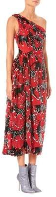 Carolina Herrera One-Shoulder Cat Print Midi Dress
