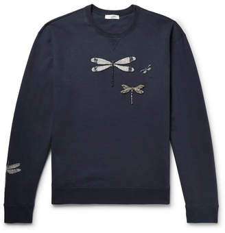 Valentino Embellished Loopback Cotton-Blend Jersey Sweatshirt