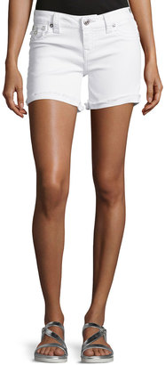 True Religion Frayed-Cuff Denim Shorts, Optic White $129 thestylecure.com