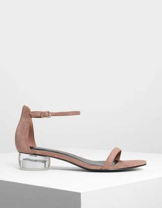Charles & Keith Lucite Heel Ankle Strap Sandals