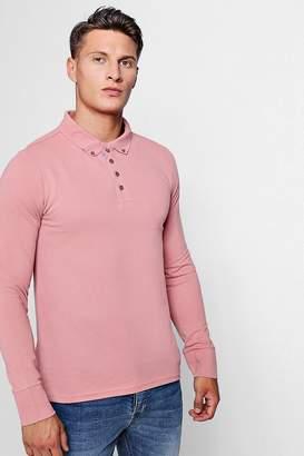 boohoo Long Sleeve Button Collar Pique Polo