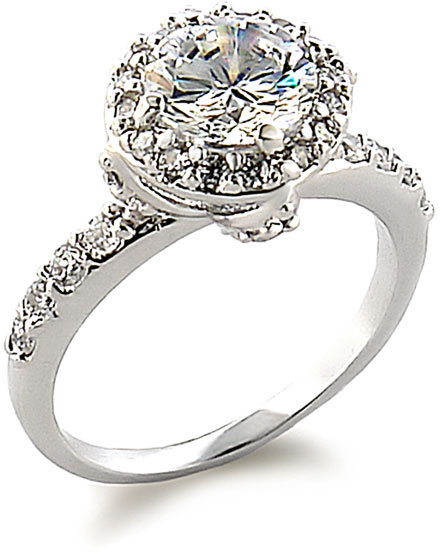 Ariella Collection Round Pavé Cubic Zirconia Ring