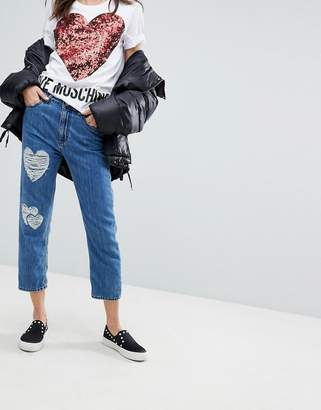 Love Moschino Distressed Mom Jeans