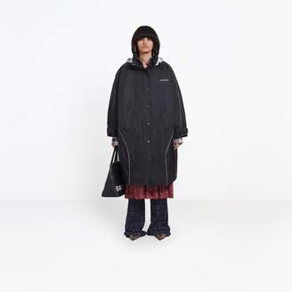 Balenciaga Revisited parka with florak nylon hood