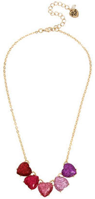 Betsey Johnson Glitter Heart Frontal Necklace