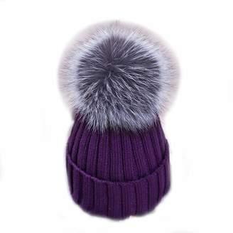 fe9e664ac4a ManMan Real Silver Fox Fur Pom Pom Womens Girls Warm Knit Beanie Hat Winter Knit  Hat