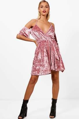 boohoo Cold Shoulder Velvet Skater Dress