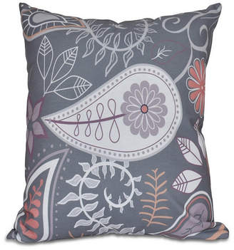 Paisley Floral 16 Inch Dark Gray Decorative Floral Throw Pillow