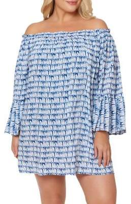 Jessica Simpson Plus Off-The-Shoulder Bell-Sleeve Coverup