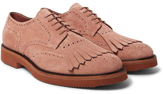 Dries Van Noten Suede Kiltie Wingtip Brogues