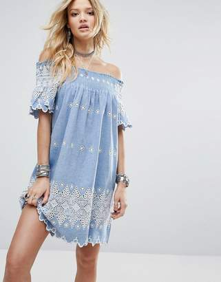 Glamorous Off Shoulder Dress With Smocking And Floral Embroidery