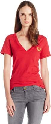 True Religion Women's Logo Crest V Neck