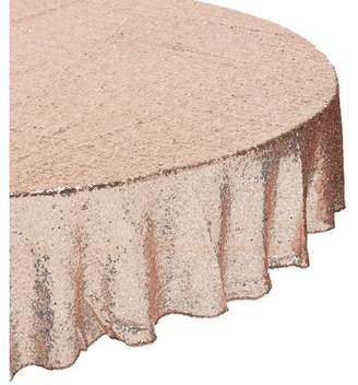 Putwo PuTwo Tablecloth 71'' Round Rose Gold Sequin Table Cloth Table Runner Table Cover Table Overlay Sequin Tablecloth Cake Tablecloths Party Supplies for Birthday Party, Wedding, Summer Party - Rose Gold
