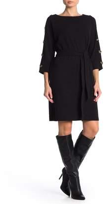 Spense Button Trim Tie Waist Dress