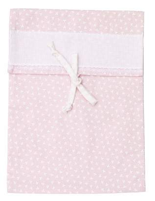 Filet Ospedale Newborn Baby Bag with Embroidered Aida Fabric Insert 100% Cotton Pink