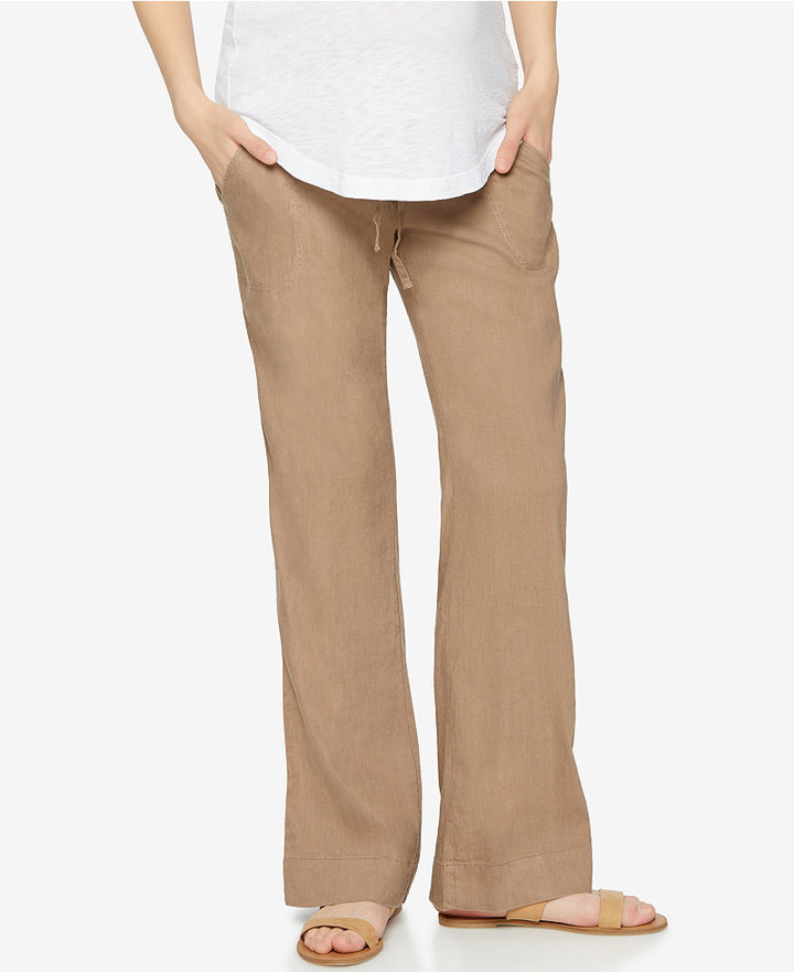 A Pea In The Pod A Pea In The Pod Maternity Linen-Blend Bootcut Pants