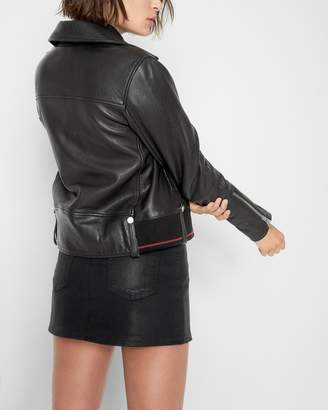 7 For All Mankind Leather Zip Moto Jacket with Rib Trim in Black