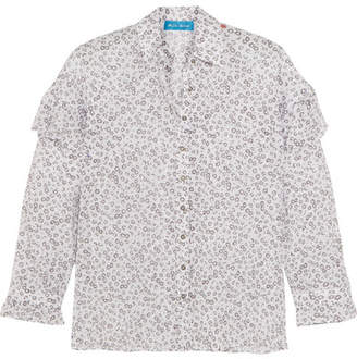 MiH Jeans Baylis Ruffled Floral-print Cotton-voile Shirt - White