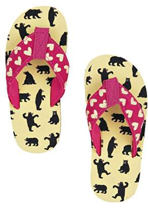 Hatley Girls' Lbh Kids Flip Flops Bears on Natural Beach and Pool Shoes,L Child UK
