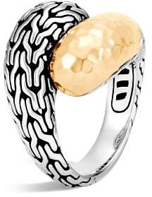 John Hardy Classic Chain Hammered 18K Gold and Sterling Silver Ring