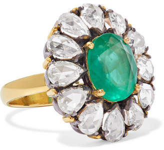 Amrapali 18-karat Gold, Sterling Silver, Diamond And Emerald Ring