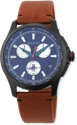 Gucci 44mm G-Timeless Chronograph Leather Watch