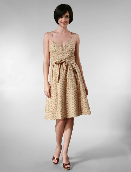 Tocca Lavandine Embroidery Astra Dress in Beige