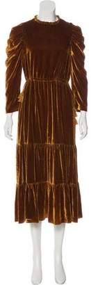 Ulla Johnson 2018 Velour Long Sleeve Maxi Dress