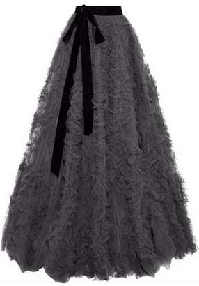 Jenny Packham Bow-Detailed Ruffled Tulle Maxi Skirt